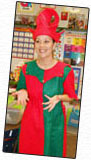 Miss Annie dressed as an elf